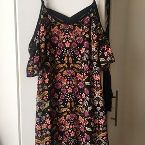 NWT off shoulder ruffle floral slip cami dress SM